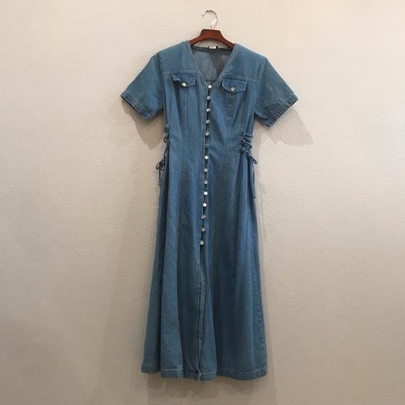 Dresses & Skirts - Vtg denim jean button down corset maxi dress sz 8